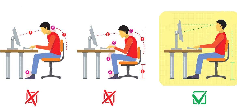 prawidłowa pozycja w pracy biurowej