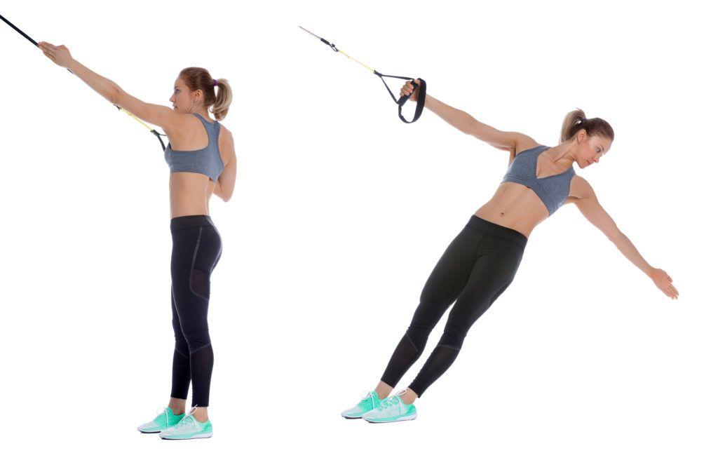 TRX single arm back row with rotation